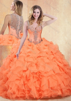Beautiful Straps Orange Red Sweet 16 Dresses with Ruffles and Appliques for 2016