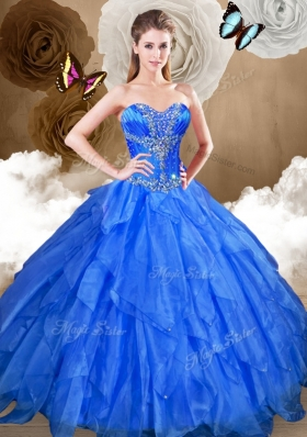 Perfect Ball Gown Sweet 16 Gowns with Beading and Ruffles