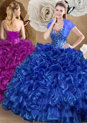 Pretty Royal Blue Quinceanera Gowns with Beading and Ruffles for 2016