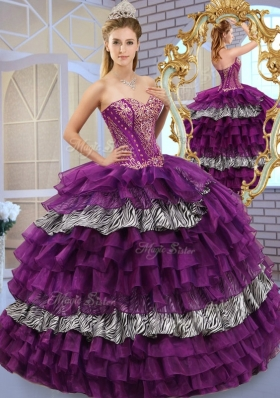 Pretty Sweetheart Ball Gown Sweet 16 Dresses with Ruffled Layers and Zebra