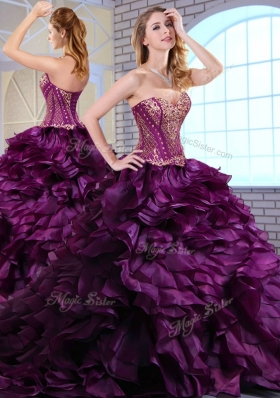 Wonderful Brush Train Dark Purple Sweet 16 Dresses with Ruffles and Appliques