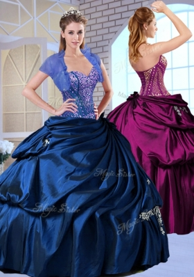 Wonderful Sweetheart Taffeta Royal Blue Quinceanera Dresses with Appliques for 2016