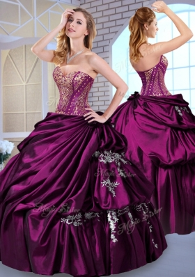 2016 Designer Ball Gown Taffeta Dark Purple Quinceanera Dresses with Pick Ups