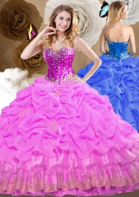 Cute Ball Gown Sweet 16 Dresses with Beading and Pick Ups