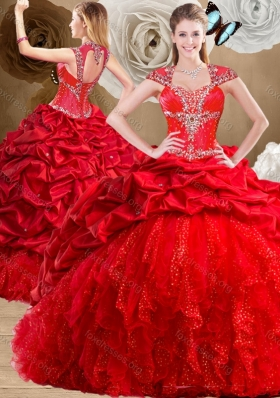 2016 Designer Red Sweet 16 Dresses with Beading and Pick Ups