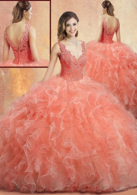 2016 Designer V Neck Sweet 16 Gowns with Ruffles and Appliques