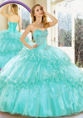 2016 Pretty Sweetheart Quinceanera Gowns with Beading and Ruffled Layers for Summer