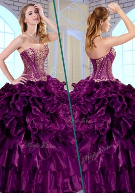 Pretty Ball Gown Sweetheart Ruffles and Appliques Quinceanera Gowns