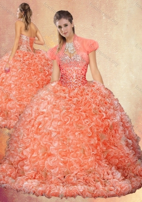 2016 Pretty Brush Train Sweet 16 Dresses with Beading and Ruffles