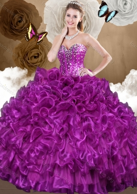 2016 Pretty Purple Sweet 16 Gowns with Beading and Ruffles