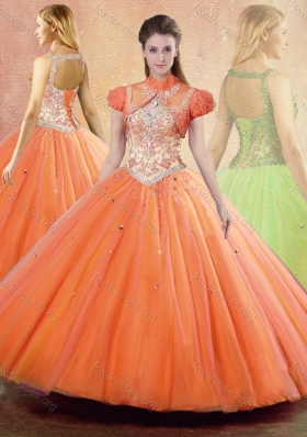 2016 Pretty Straps Open Back Quinceanera Dresses with Ruffles