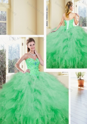 2016 Pretty Sweetheart Beading and Ruffles Quinceanera Dresses