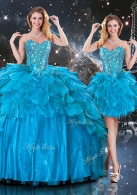 New Arrivals Detachable Sweetheart Sweet 16 Dresses with Beading in Blue