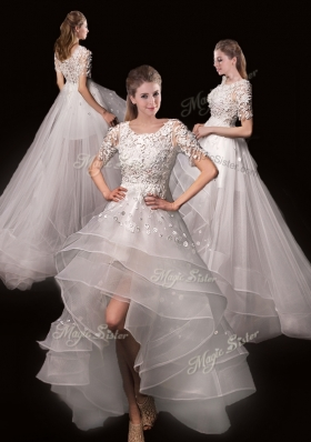 2016 Latest Appliques High Low Wedding Dresses with Short Sleeves