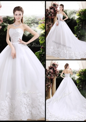 2016 New Style Ball Gown Sweetheart Chapel Train Wedding Dresses with Appliques