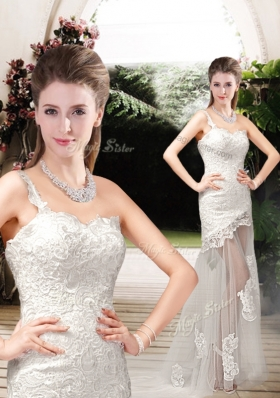 2016 Perfect Column One Shoulder Wedding Dresses with Lace