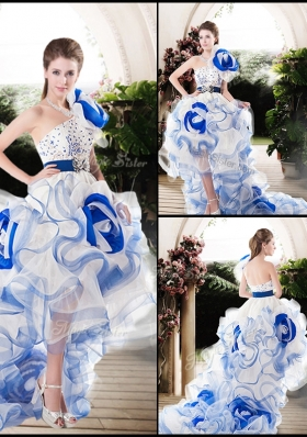 2016 Popular One Shoulder High Low Wedding Dresses with Beading and Ruffles