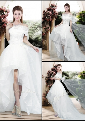 2016 Pretty Appliques and Bowknot High Low Wedding Dresses with Cap Sleeves