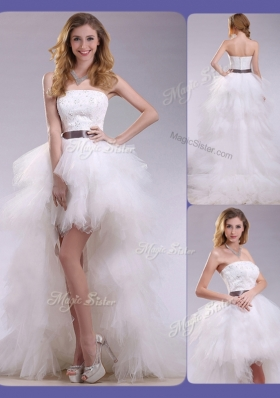 2016 Romantic High Low Ruffles and Belt Wedding Dresses with Zipper Up