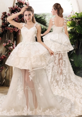 2016 Latest Appliques Straps Wedding Dresses with Brush Train