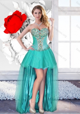 2016 Exclusive Beaded Turquoise Designer Prom Gowns with High Low