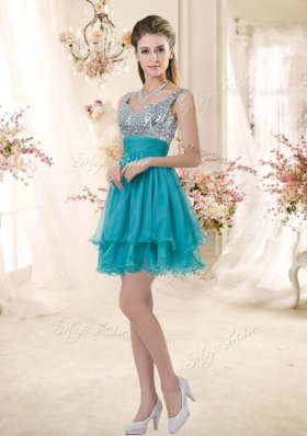 2016 Top Selling Straps Short Sequins Designer Prom Dresses in Teal