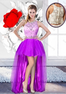Pretty High Low Scoop 2016 Prom Dresses with Beading