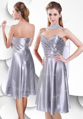 2016 Best Empire Elastic Woven Satin Silver Popular Bridesmaid Dresses with Beading and Ruching