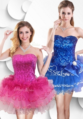 2016 Hot Sale Short Strapless Popular Bridesmaid Dresses with Sequins and Ruffles