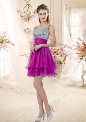 2016 Hot Sale Straps Short Popular Bridesmaid Dresses with Sequins