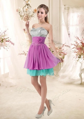 2016 Inexpensive Sweetheart Sequins and Belt Popular Bridesmaid Dresses in Multi Color
