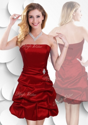 2016 Latest Strapless Taffeta Wine Red Elegant Bridesmaid Dresses with Bubles