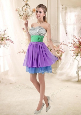 2016 Most Popular Sweetheart Multi Color Short New Style Prom Dresses with Sequins
