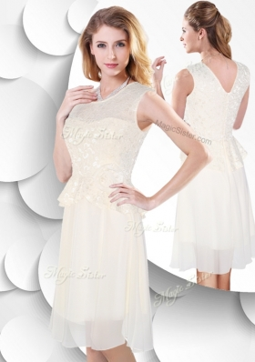 2016 Perfect Scoop Knee Length White  Popular Bridesmaid Dresses with Lace