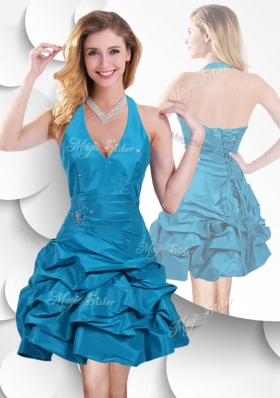 2016 Romantic Halter Top Taffeta Teal Popular Bridesmaid Dresses with Bubles