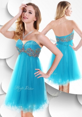 2016 Sweet Short Baby Blue Popular Bridesmaid Dresses with Beading