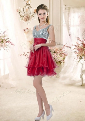 2016 Wonderful Straps Sequins and Ruching Popular Bridesmaid Dresses  in Wine Red