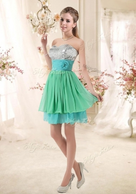Lovely 2016 Short New Style Prom Dresses with Sequins and Belt