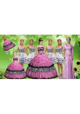 Luxurious Applique Zebra Rose Pink Quinceanera Dress and Strapless White Dama Dresses and Pick Ups Mini Quinceanera Dress and Applique Mother of The Bride Dress