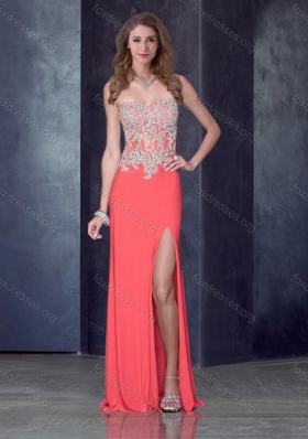 2016 Column Watermelon Red Prom Dress with High Slit and Appliques