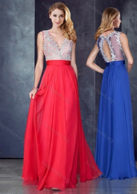 2016 Empire V Neck Red Prom Dress with Appliques and Beading