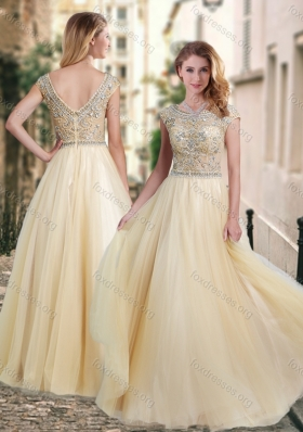 2016 Lovely A Line Beaded Bodice Scoop Best Prom Dress in Champagne