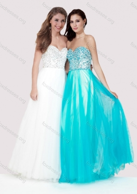 2016 Luxurious Empire Tulle Long Prom Dress with Beaded Bodice