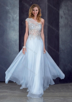 2016 See Through Back One Shoulder Applique Prom Dress in Light Blue