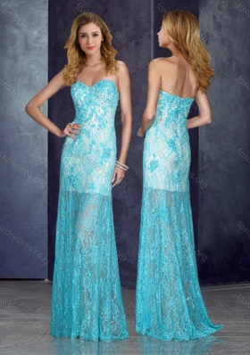 2016 Short Inside Long Outside Beaded Baby Blue Prom Dress with in Lace