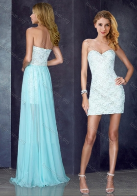 2016 Short Inside Long Outside Laced Light Blue Best Prom Dress