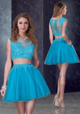 2016 Two Piece Short Bateau Teal Prom Dress with Appliques
