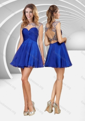 2016 Popular See Through Beaded and Ruched Blue Short Best Prom Dress with Open Back