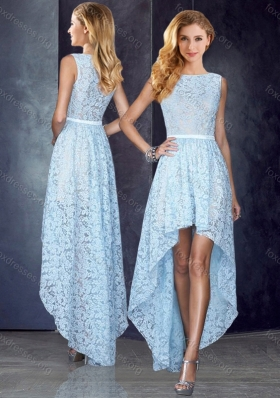 2016 Bateau High Low Light Blue Cheap Prom Dress in Lace