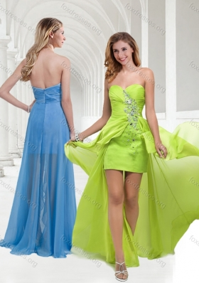 2016 Cheap Chiffon Beaded Yellow Green Long Prom Dress with Empire